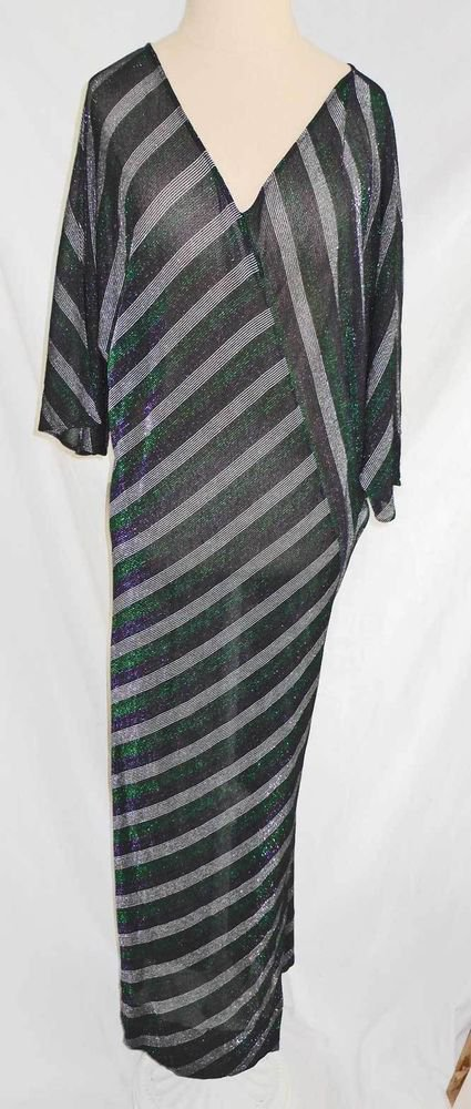 Sheer Dress Clovis Ruffin Vintage 70s Nos Sexy Stripe Metallic Maxi Dress Dolman