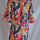 Nos Milly of New York Shirt Dress Silk Button Up Collar Print Orange Tunic