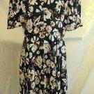 Vintage 70s Louis Feraud Dress 14 NOS Silk Print Fit Flare Floral Dark Blooms