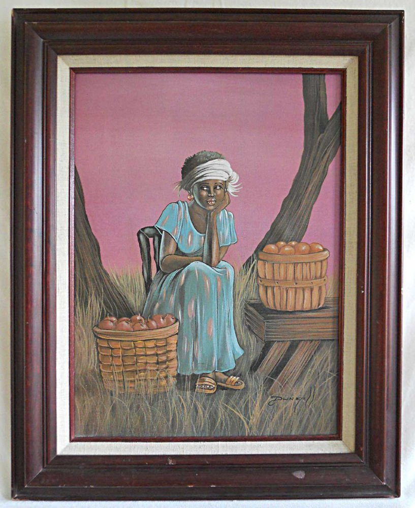 Painting Tropical Beautiful Young Black Girl Fruit Seller Dlingill Occupational