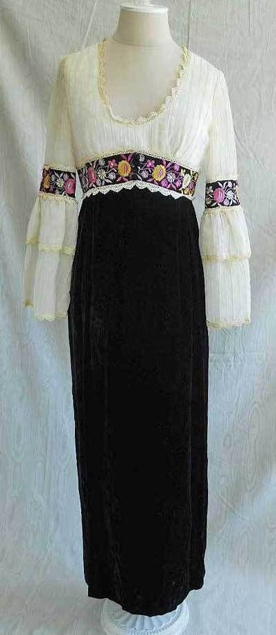 Boho  Maxi Dress Calderone Vintage 60s NOS Velvet Boho Sheer Top Folklore