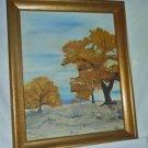 Vintage Oil Painting S Morris Golden Fall Foliage Landscape New England Framed