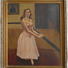 Oil Painting Vintage 1940's Ballerina at Barre Art  Deco Dancer Framed RE Megar