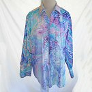 Tuxedo Shirt Vintage 60s Rat Pack Marble Print NOS Ruffle Multicolor M After Six