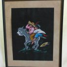 Antique 1930s Art Deco Mexican Watercolor Painting Donkey Burro Iliags Framed