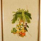 Vintage Needlepoint Still Life Tropical 3D Cascading Fern Fuzzy Flowers Moderne