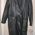 LEATHER Cocoon Maxi Black  Wrap Oversize Coat Grunge Goth  XL Vintage 80 NOS