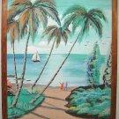 Oil Painting Santo Domingo New Zealand ELSA Tropical Palm Trees Ocean Boat