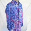 Tuxedo Shirt Vintage 60s Rat Pack Marble Print NOS Crinkle Front M After Six