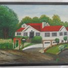 Vintage Modernist Architectural Raised Ranch Original Oil Painting Signed House