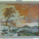Original Art Oil Painting Snow High Country West Ranch Lee Vtg Landscape Framed