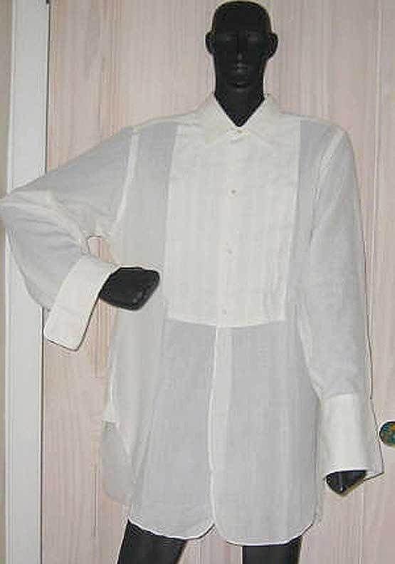 Tuxedo Brooks Brothers Bros Shirt Vintage 50s Pleated Front Tunic Oversize White