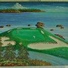 Pebble Beach Golf Course California Vintage Folk Art Oil Painting Jef Curtis