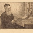 Marco Zim Etching Russia Painter WPA Era Art 1930s The Philosopher in Library