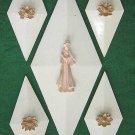 Antique Art Deco 30s Matched Set 5 Plaster Wall Plaques Medallions Geometric