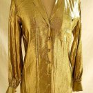Liquid Gold Shirt Tunic Metallic  Anne Klein New Old Stock with Tag Vintage 70s