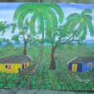 Vintage 1990 Haitian Folk Art Impressionist Farm House Painting J C Chirspin