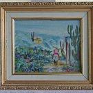 Vintage Painting Jos Pergi New Mexico Cowboy Desert Joshua Trees Folk Art Naive