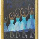Ballet Ballerinas Vintage Painting Naive Back View Folk Art Blue Tutu Estafi