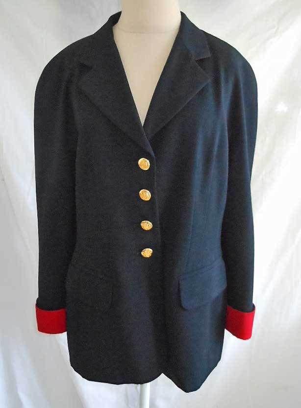 Escada Jacket Blazer Vintage 80s Military Sexy Seaming Navy Blue Wool Red Cuffs