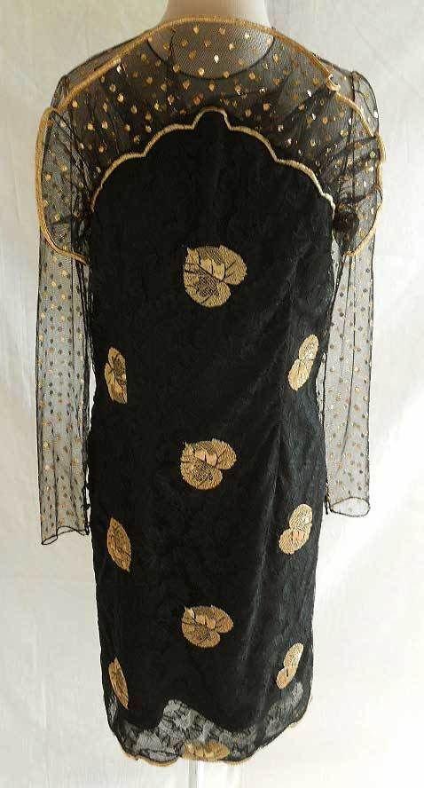 Bill Blass Dress Metallic Vintage 70s Nos Mesh Sheer Overlay Embroidered Sheath