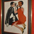 Needlepoint 3 Dimensional Textile Collage Erotic Tango Samba Flapper Art Deco