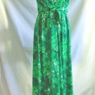 Vintage 60s Anne Fogarty Collectors Items Maxi Wrap Dress Hawaiian Print NOS 12