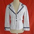 Nanette Lepore Blazer Jacket Trophy Deadstock NOS Dotted Stripe White Navy 6