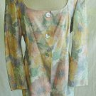 Badgley Mischka Linen Wool Jacket Off Shoulder Pastel Print Sexy Vintage 12