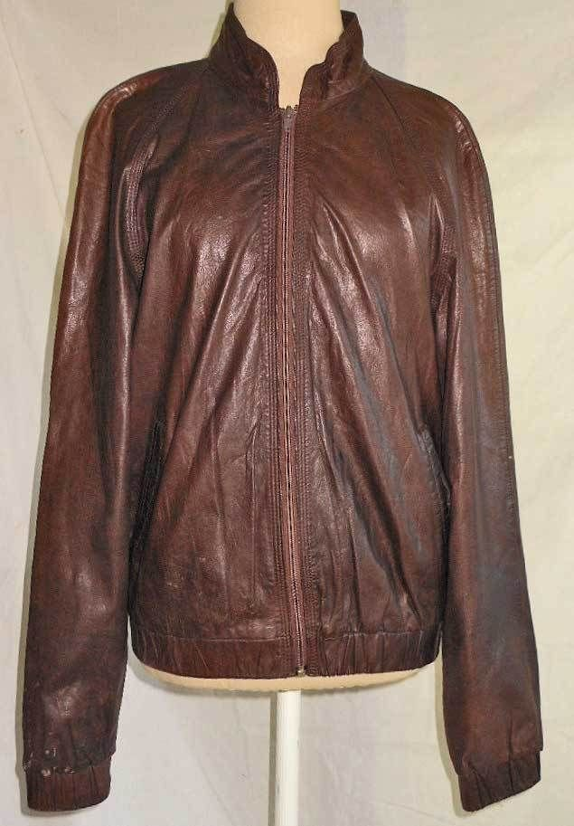 North Beach Leather Buttery Baseball Flight Bomber Motorcycle Jacket Vintage 38