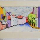 Vintage Watercolor Painting Modernist Cubist G Schlanger Caribbean Street