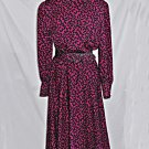 Vintage Adele Simpson Dress  Fit and Flare Belted Print Collared Deadstock 10