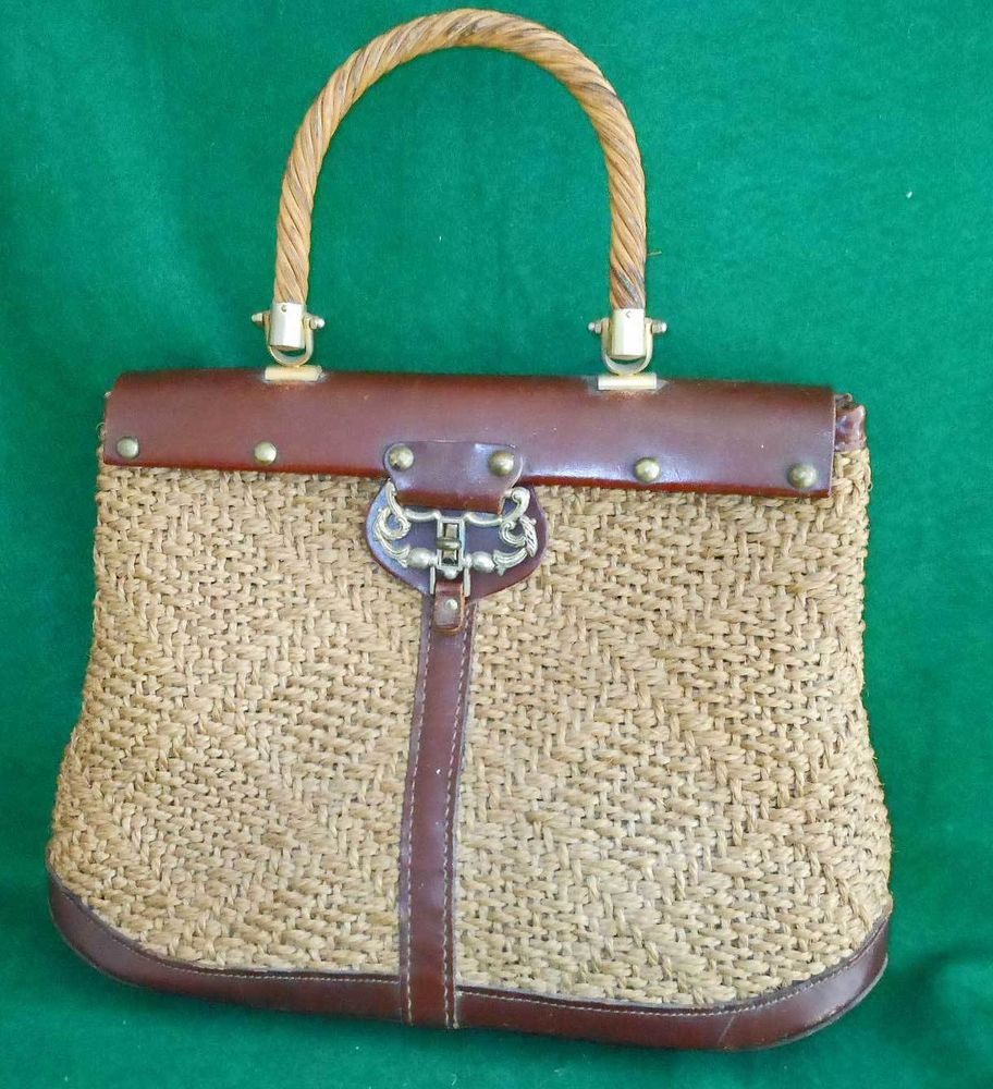 Rope Jute Vintage 50s Trophy Handbag Leather Woven Studs Hand Bag Sac a Depeches
