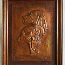 Vintage Copper Hammered Repousse Plaque Portrait Setters Hunting Dogs Framed