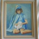 Vintage Oil Painting Poodle Shiksa Princess Blue Little Girl Nancy Flynn 1968