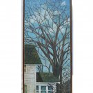 Iowa Vintage Modenist Original Painting  Midwest Dramatic Bare Tree House M Day