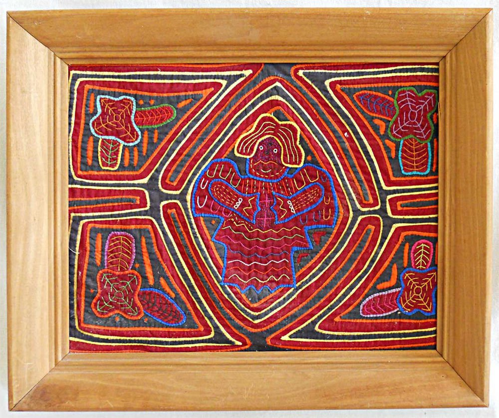 Mola Kuna Chief Vintage Figural Male Folk Art Textile Handmade Large Framed