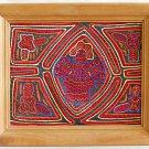 Mola Kuna Chief Vintage Figural Male Folk Art Textile Handmade Large Framed