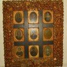 Antique Sea Shell Display Frame Wall Sailors Valentine Folk 9 Ambrotypes  1860s