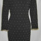 Dress Sheath Plunging Tough Luxe NOS Vintage 80s Overall Gold Studs Structured