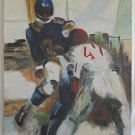 Painting Vintage 60s Football Modernist Original Oil Number 7 and 47 Gaglio