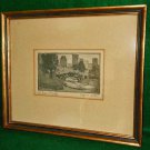 Antique Lithograph New York NY Central Park Bridge Framed Signed Owen Wari