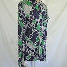 Tory Burch Silk Shirt Chain Print Deadstock NOS Blouse Tunic Flap Pockets L