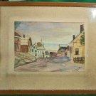 Vintage Modern Mid Century Watercolor Painting Fath Nantucket Seaside Scene