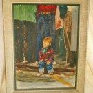 Painting Vintage 50s Cowboy Folk Art Levis Jeans Vinicur Americana Decor Framed