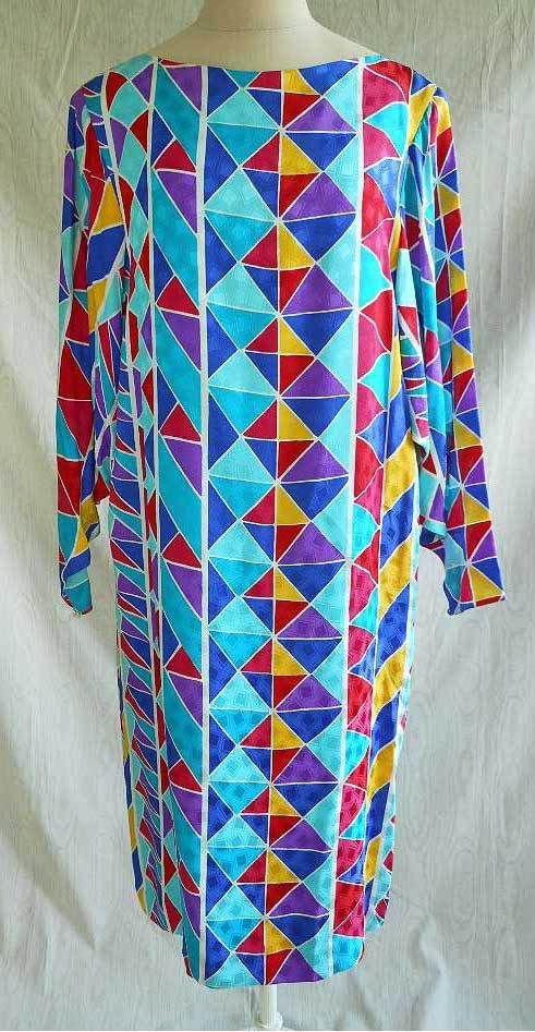 Hanae Mori Psychedelic Dress Vintage 70s Silk Dolman Shift NOS Deadstock 16