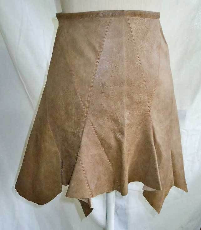 Zac Posen Lambskin Leather Mini High Waist NOS Skirt Shark Bite Hem Fluted 2