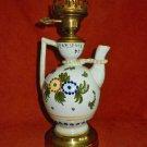 Lamp Vintage 50s Ceramic Hand Painted Painted Flower Italian Pottery Jug Mid Mod