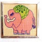 Pink Elephant Needlepoint Vintage Modernist Whimsical Cocktail Bar Decor Framed