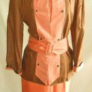 Pierre Balmain Dress Jacket Tunic Colorblock Belted Silk Vintage 60s NOS Couture